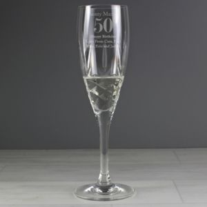 Engraved Cut Crystal Age Champagne Flute In Gift Box