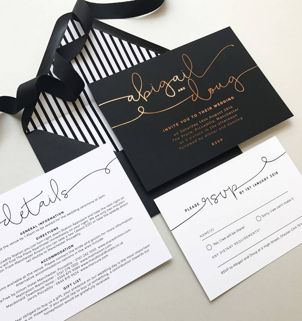 kate foil wedding invitations by project pretty | notonthehighstreet.com