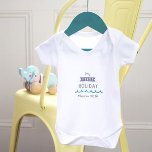 'My First Holiday' Personalised Baby Grow - new baby gifts