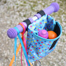 Child's Blue Spotty Handlebar Bag by Suzielou textiles