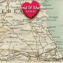 Personalised Love Heart Map Wedding Or Engagement Sign