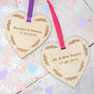 Personalised Wedding Date Wooden Heart