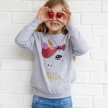 ' Star Unicorn' Sparkly Personalised Kids Sweatshirt