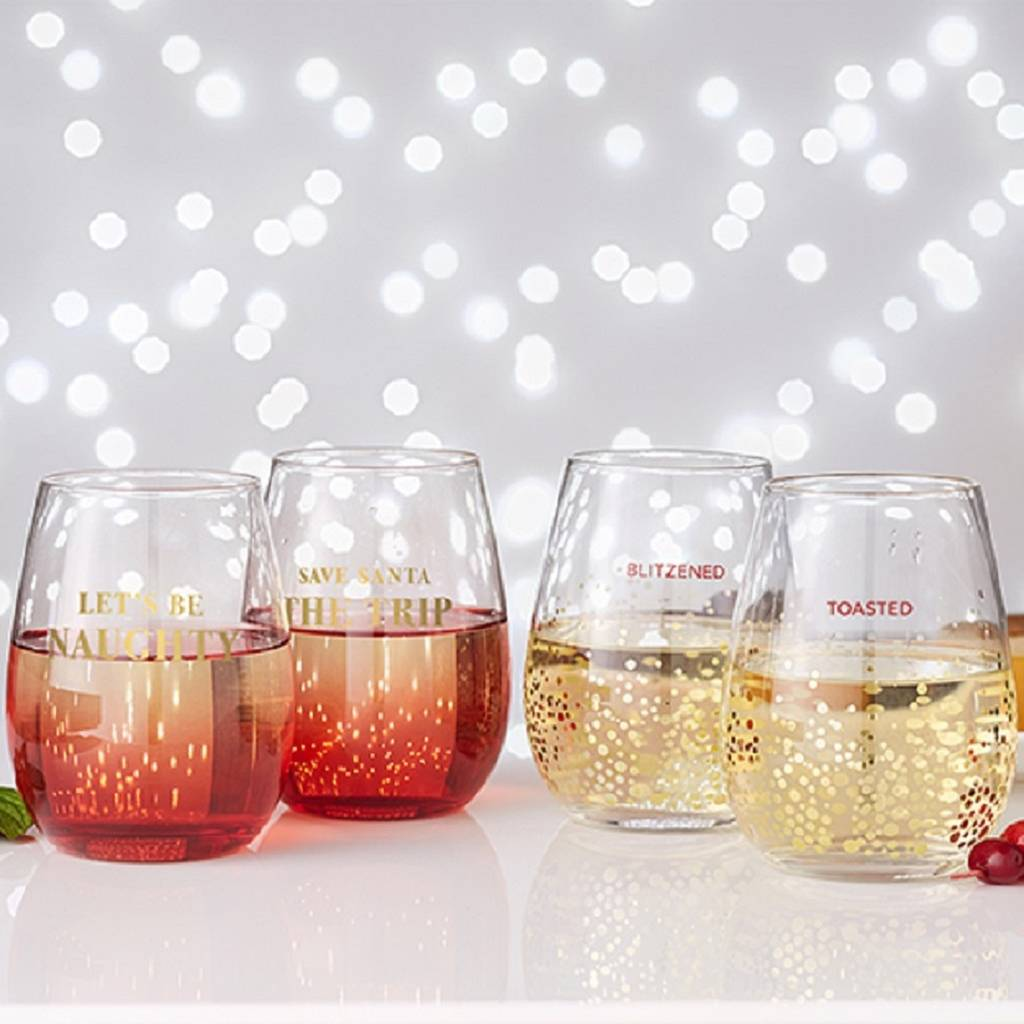 Christmas quote stemless wine glass set by posh totty designs interiors - Stemless wine goblets ...