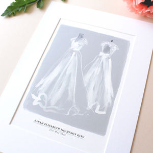 Illustrated Wedding Dress Portrait