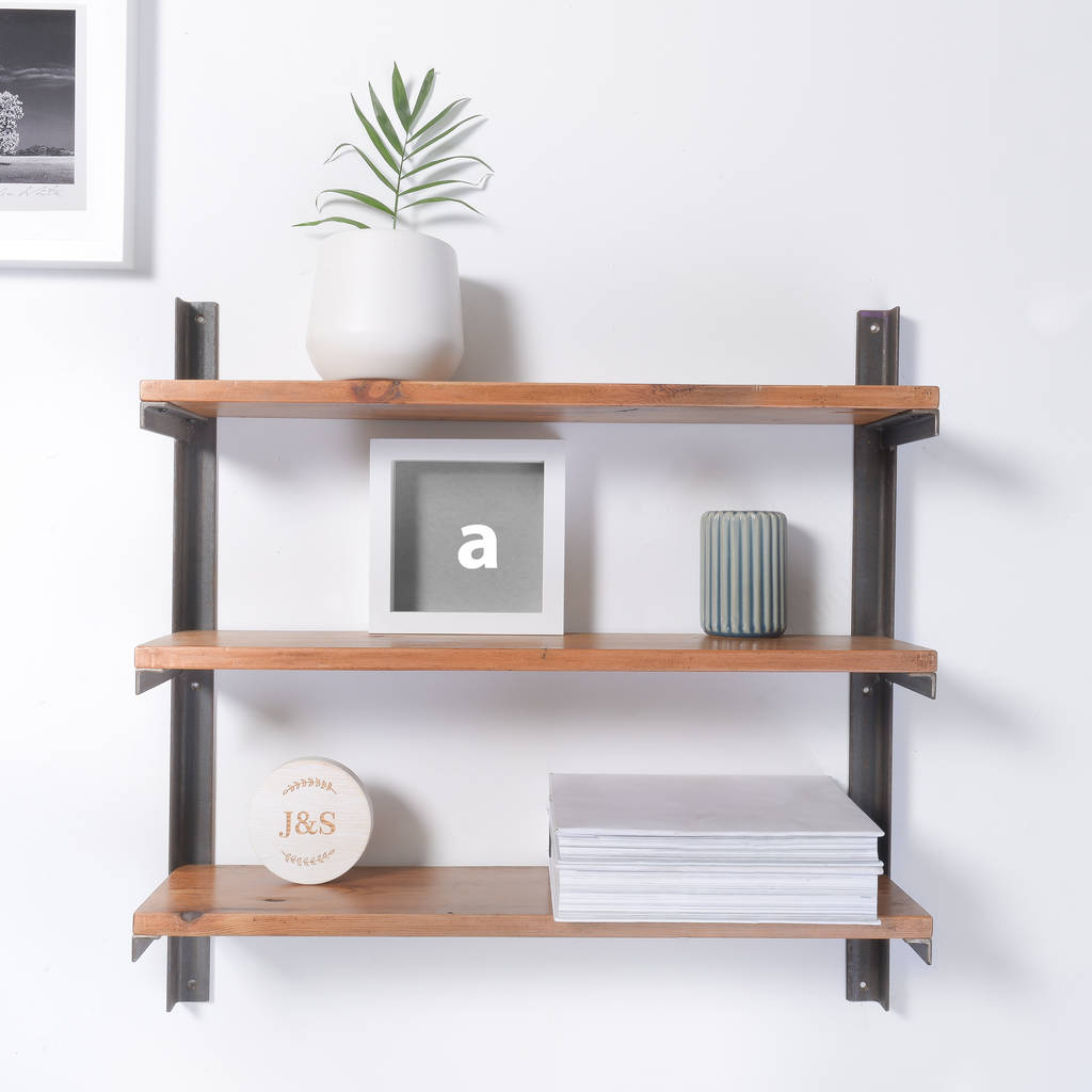 Reclaimed Wood And Steel Industrial Style Shelf Unit By