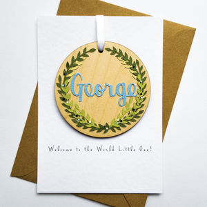 'Welcome To The World' Keepsake Pendant Card - new baby cards