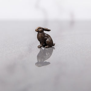 Miniature Bronze Rabbit Statue - sculptures