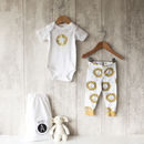 Gold Lion Baby Bodysuit And Leggings Set
