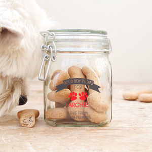 Personalised Pet Treat Jar - food, feeding & treats