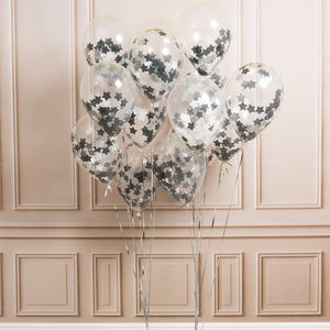 Pack Of 14 Monochrome Star Confetti Balloons - new years eve entertaining