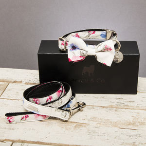 The Disley Floral Dog Collar Bow Tie And Lead Set - pet collars