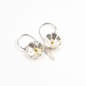 Silver And Gold Daisy Flower Medium Hook Earrings