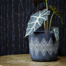 Black Diamond Print Ceramic Pots