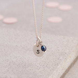 Personalised Initial Silver Pebble Necklace