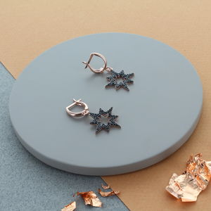 Black Star Drop Pave Earrings - earrings