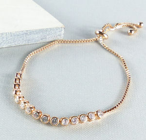 Rose Gold And Crystal Slider Friendship Bracelet - women's jewellery