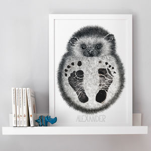 Personalised Baby Hedgehog Footprint Kit - nursery pictures & prints