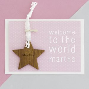 Personalised New Baby Star Keepsake Card