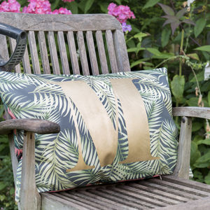 Personalised Gold Monogram Jungle Outdoor Cushion - get garden ready