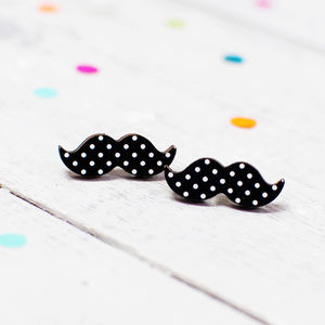 Polka Dot Moustache Earrings