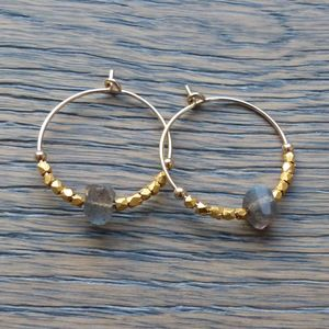 Gold And Labradorite Hoop Earrings