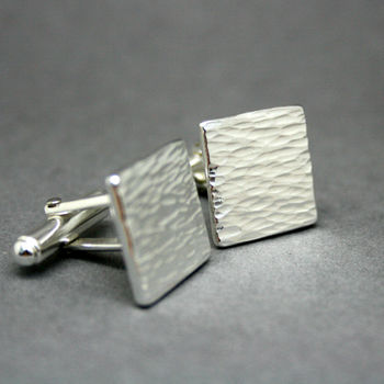 Bark Textured Personalised Recycled Silver Cufflinks