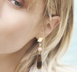 Fran Drop Earrings With Tiger's Eye