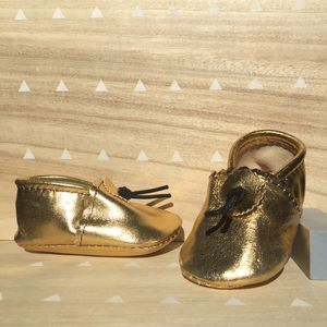 Gold Leather Baby Booties - clothing