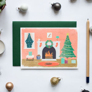 Christmas Fireplace Greeting Card Single And Boxed