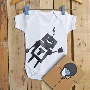 Personalised Robot Baby Boy Vest - clothing