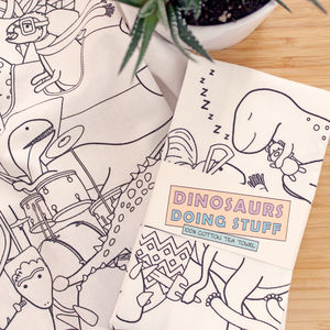 Dinosaurs Doing Stuff 100% Cotton Tea Towel - kitchen