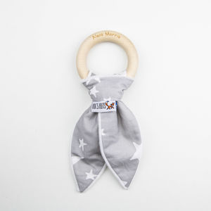 Grey Stars Personalised Teething Ring