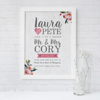 'I Do' Wedding Day Personalised Gift Print