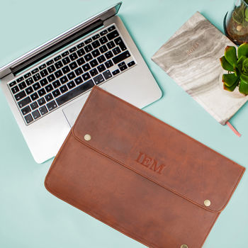 Personalised Brown Leather Oslo Macbook Sleeve/Case