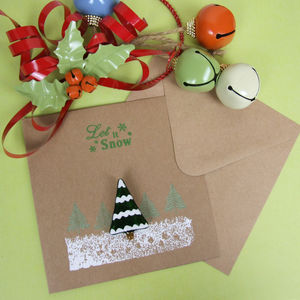 Christmas Card With Handmade Snowy Tree Brooch
