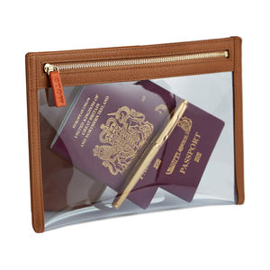 Personalised Leather Luxury Clear View Travel Wallet