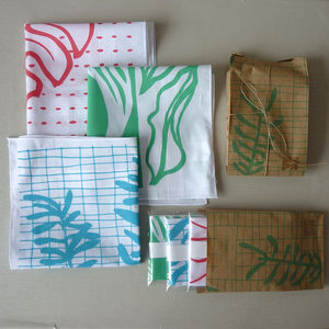 Set Of Three Leafy Hankies - handkerchiefs