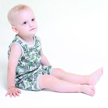 Tropical Leaves Print Top And Shorts Matching Set