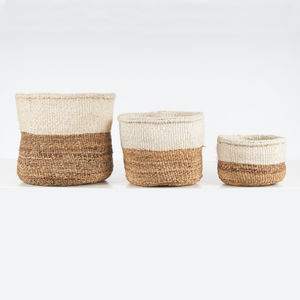 Banana And Sisal Colour Block Storage Baskets - storage baskets