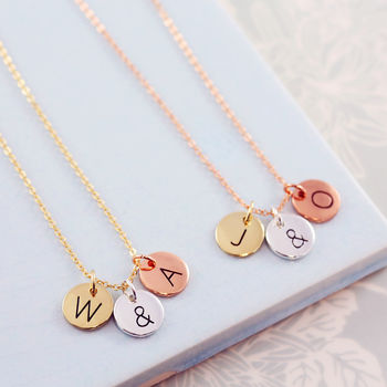 Mixed Metal Disc Initial Necklace