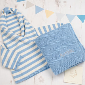Baby Boy Hoodie And Blanket Gift Set - clothing