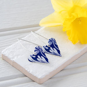 Royal Blue And White Floral Print Long Heart Earrings - earrings