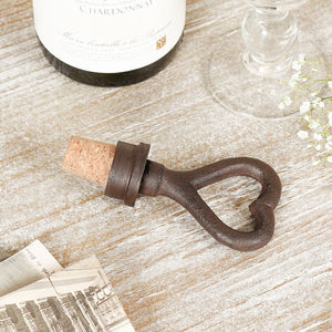 Iron Anniversary Heart Bottle Stopper