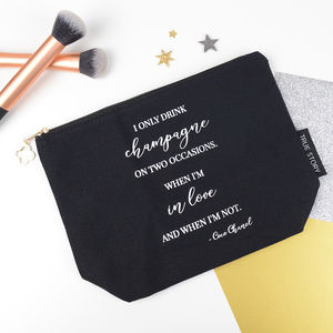 'I Only Drink Champagne' Make Up Bag - bags & purses