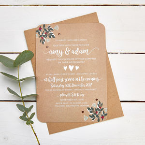 Winter Blossom And Berries Gem Evening Invite