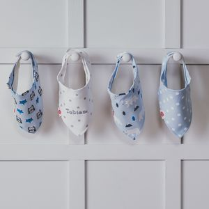 Personalised Blue Animals Bandana Bibs Four Pack - whatsnew