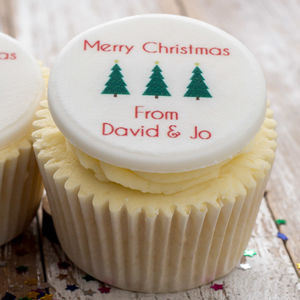 Personalised Christmas Tree Cupcake Toppers