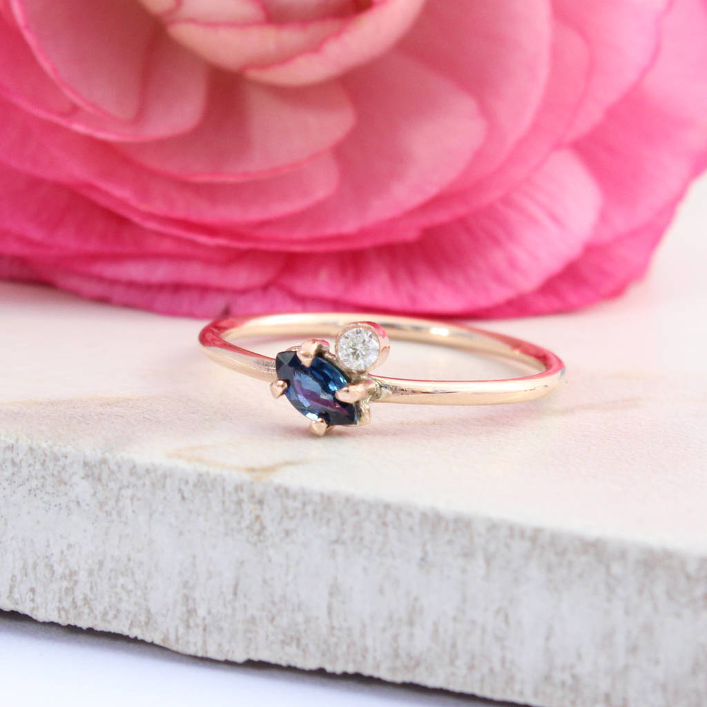 athene sapphire and diamond 9ct rose gold ring by amelia may ...