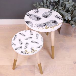 Personalised Monochrome Pineapple Wooden Side Table - furniture